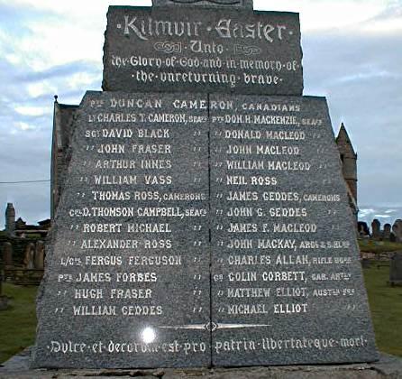 Kilmuir Easter War Memorial - Inscriptions