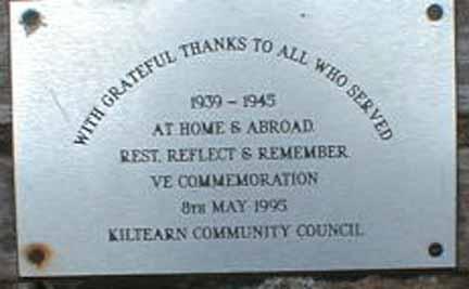 Memorial Bench at Kiltearn (Evanton) War Memorial - plaque
