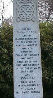 Knockbain (Munlochy) War Memorial - front details