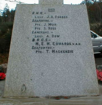 Knockbain (Munlochy) War Memorial - inscriptions on back