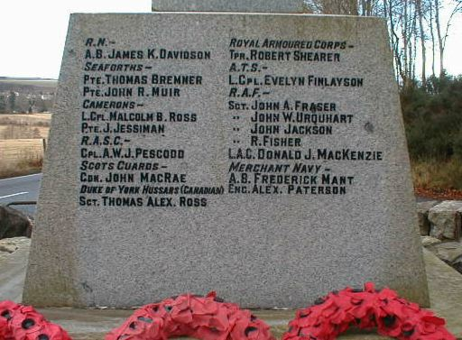 Knockbain (Munlochy) War Memorial - 1939 inscriptions