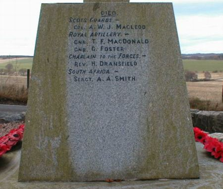 Knockbain (Munlochy) War Memorial - inscriptions on left hand side