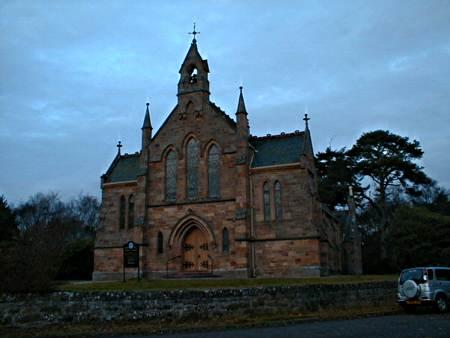 Logie Easter Church is opposite the Memorial.