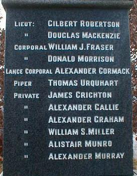 Logie Easter War Memorial - Inscriptions on Left Hand Side