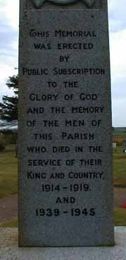 Dedication panel on Nigg War Memorial