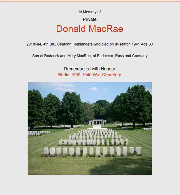 MacRae Donald, Pte, Badachro
