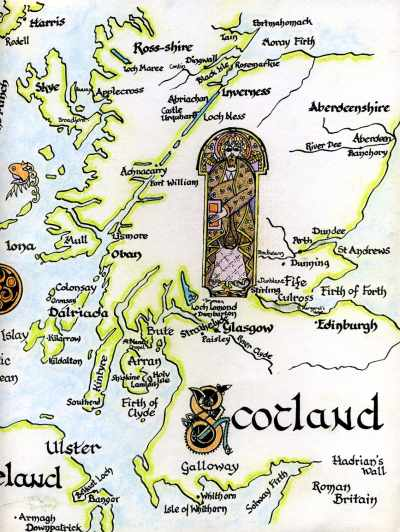 Map showing various locations, referred to in the text, which are associated with Scotland's saints.