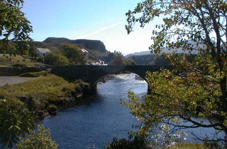 Poolewe War Memorial - View looking east to the bridge over the River Ewe.