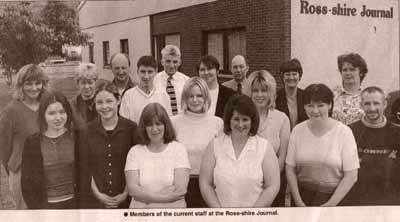 Members of the current staff at the Ross-Shire Journal