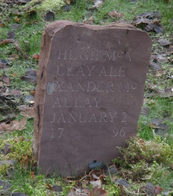 Gravestone replacing the Pictish stone.  [Photo courtesy of NOSAS]