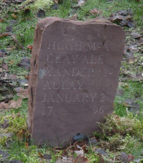 Gravestone replacing the Pictish stone. [Photo courtesy of NOSAS]