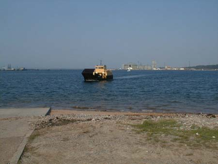 The former Cromarty-Nigg ferry approaching the slipway at Cromarty.
