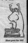 Nessie Cartoon in paper for the 102nd birthday of John Macdonald in March 1988