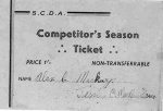 CDA Competitor's Season Ticket belonging to Alex Mackay