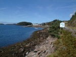 Looking towards Shieldaig pier from the road to Lochcarron.