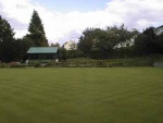 The bowling green (Oct. 1998) in the grounds of the Strathpeffer Pavilion.