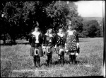 Highland dancers at Strathpeffer Games 1925 - one with a most impressive accumulation of medals.